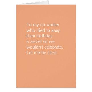 Carte L'anniversaire | de collègue durcissent librement
