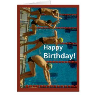 Carte L'anniversaire des hommes de natation