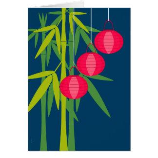 Carte Lanternes rouges chinoises et bambou de nouvelle