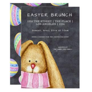 Carte Lapin de brunch de Pâques dans l'écharpe