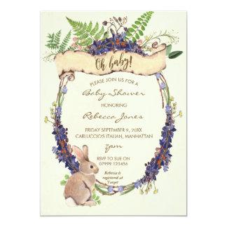 Carte lapin neutre de lapin de forêt d'invitation de
