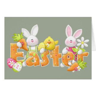 Carte Lapins de Pâques heureux
