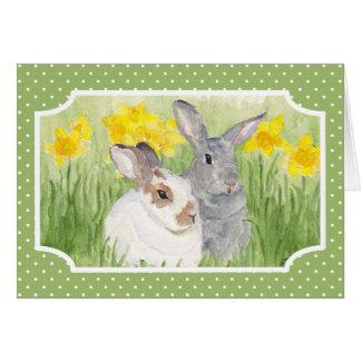 Carte Lapins de printemps en fleurs
