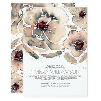 Carte L'aquarelle fleurit la douche nuptiale vintage ene