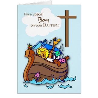 Carte L'arche de Noé de garçon de baptême, animaux