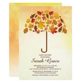 Carte L'automne unique laisse l'invitation de BabyShower