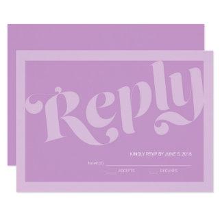 Carte Lavande RSVP l'épousant lilas de typographie de