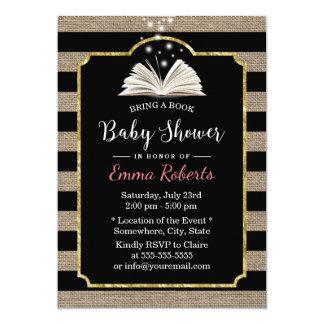 Carte Le baby shower apportent à un livre les rayures