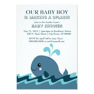 Carte Le baby shower bleu orienté de baleine invite 5x7