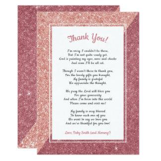 Carte Le baby shower rose de poème de parties