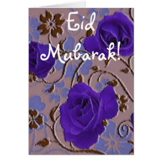 Carte Le bleu fleurit le bouquet Eid Mubarak