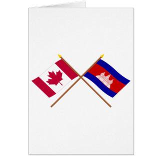 Carte Le Canada et les drapeaux croisés par Cambodge