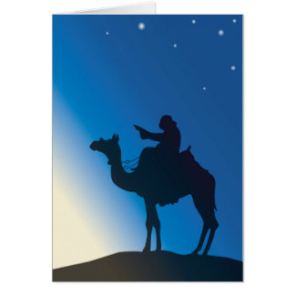 Carte Le cavalier de chameau montre sur la lumière