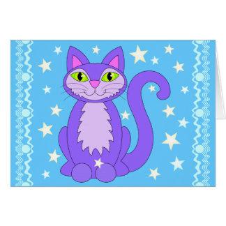 Carte Le chat cosmique de conception tient le premier