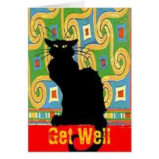 Carte Le chat noir sur le papier peint abstrait,