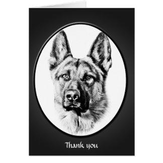 """Carte Le chien de berger allemand """"vous remercient """""""