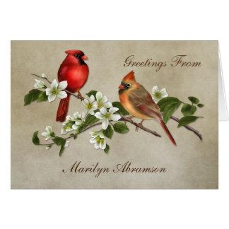 Carte Le cornouiller cardinal hommes-femmes fleurit des
