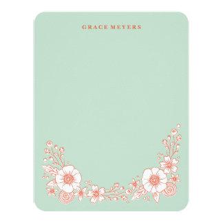 Carte Le cru fleurit papeterie - menthe