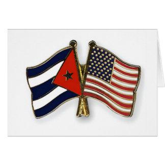 Carte Le drapeau cubain et le drapeau américain