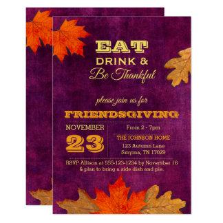 Carte Le feuille d'automne de prune mange la boisson et