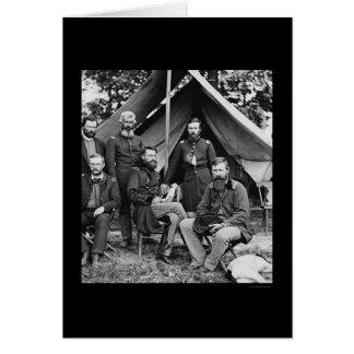 Carte Le Général George Stoneman et personnel aux chênes