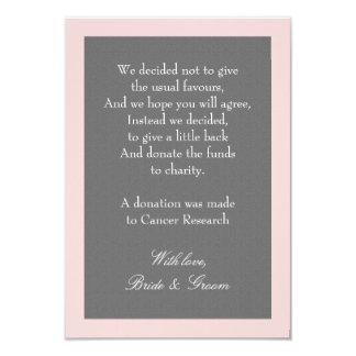 Carte Le gris et rougissent note rose de donation de