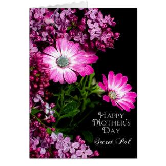 Carte Le jour de mère - copain secret - fleurs fuchsia