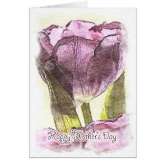 Carte Le jour de mère heureux - tulipe Painterly