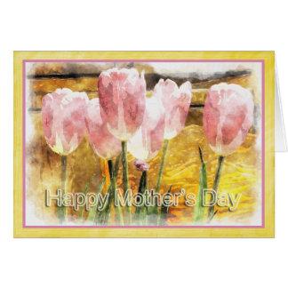 Carte Le jour de mère heureux - tulipes roses Painterly