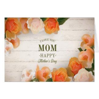 Carte Le jour de mère - jolies fleurs sur le bois