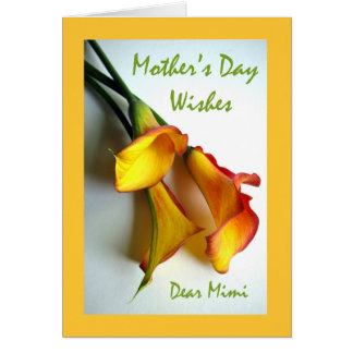 Carte Le jour de mère pour Mimi, zantedeschias