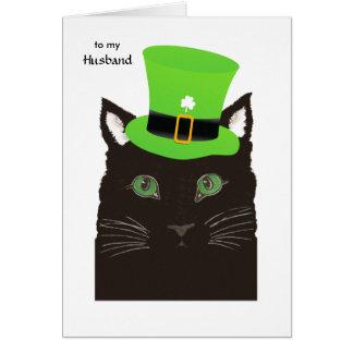 Carte Le jour de Patrick de saint pour le mari - chat