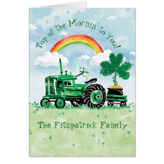 Carte Le jour vintage de St Patrick vert de tracteur