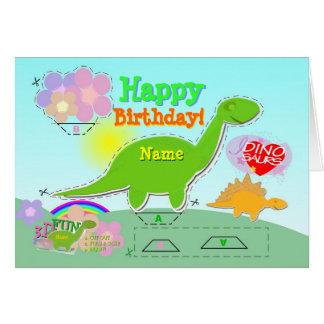 Carte Le joyeux anniversaire Dino 3D nommé a coupé et