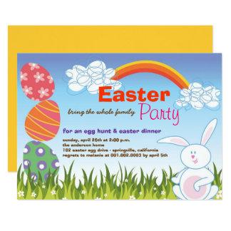 Carte Le lapin mignon de Pâques Eggs l'invitation de