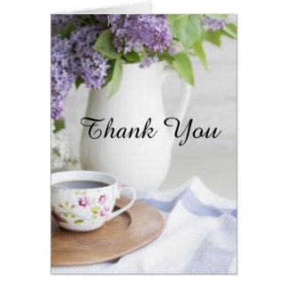 Carte Le lilas de thé d'après-midi fleurit le Merci