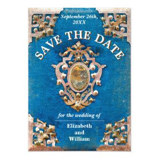 Carte Le livre vintage rustique de bleu et d'or font