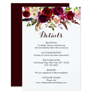 Carte Le mariage floral de Boho Bourgogne Marsala