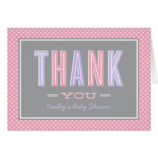 Carte Le Merci | de baby shower chic saisissent le rose