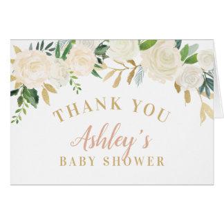 Carte Le Merci de douche carde les fleurs neutres