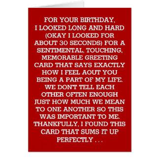 Carte Le message sentimental final d'anniversaire