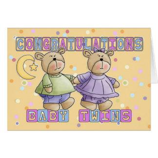 Carte Le nouveau bébé jumelle des félicitations
