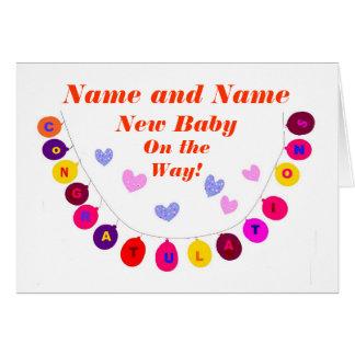 Carte Le nouveau bébé sur le chemin, félicitations,