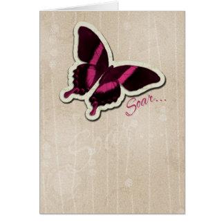 Carte Le papillon rose montent sur l'arrière - plan