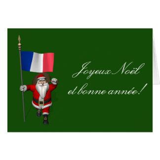 Carte Le père noël avec le drapeau de la France