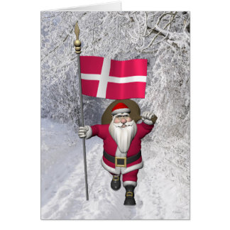 Carte Le père noël avec le drapeau du Danemark Dannebrog