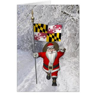 Carte Le père noël avec le drapeau du Maryland
