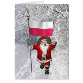 Carte Le père noël doux avec le drapeau de la Pologne