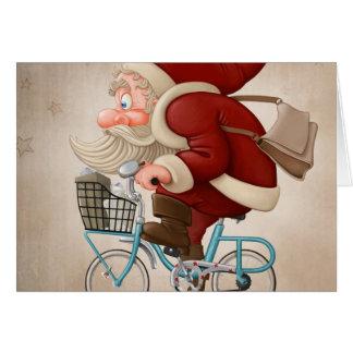 Carte Le père noël monte la bicyclette