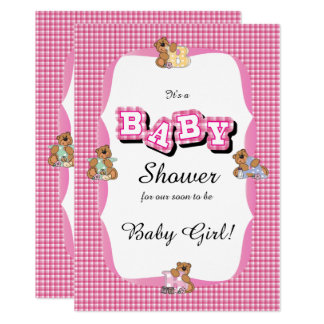 Carte Le plaid rose avec le bébé soutient le baby shower